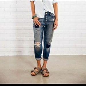American Eagle Boy Crop Distressed Jeans Size 4